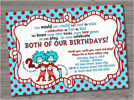 Thing 1 And 2 Birthday Party Invitations