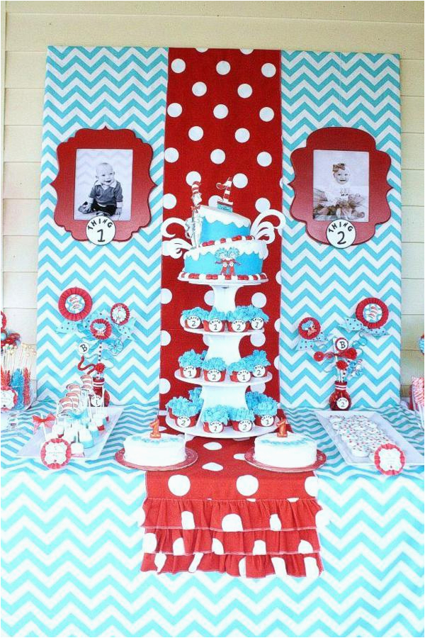 twins birthday party thing 1 and thing 2 dr seuss theme made easy