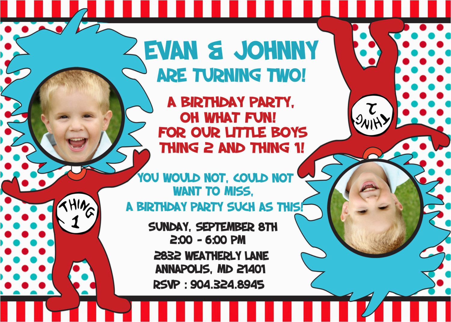 Thing 1 2 Birthday Invitations Dr Seuss Twins Party Invitation