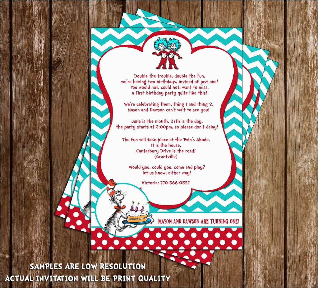 Thing 1 2 Birthday Invitations Novel Concept Designs Cat In The Hat And