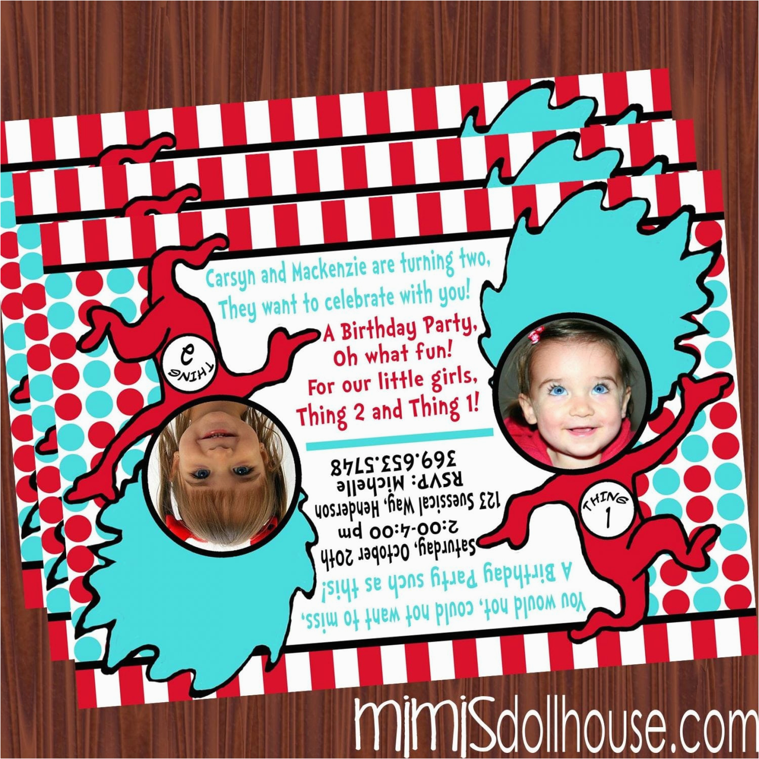 thing 1 and thing 2 invitation 2