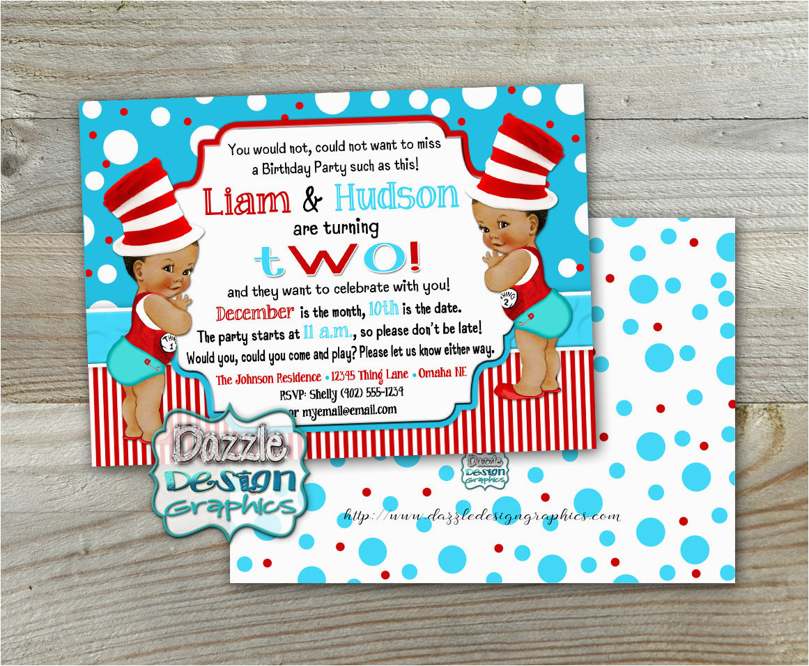 twin thing 1 and thing 2 birthday invitation double birthday