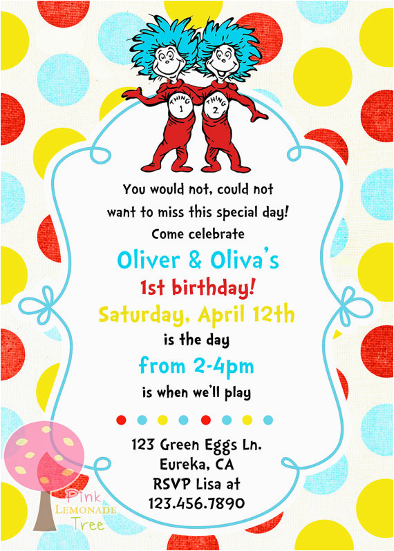 Thing One And Two Birthday Invitations Free Printable 1 2 Party
