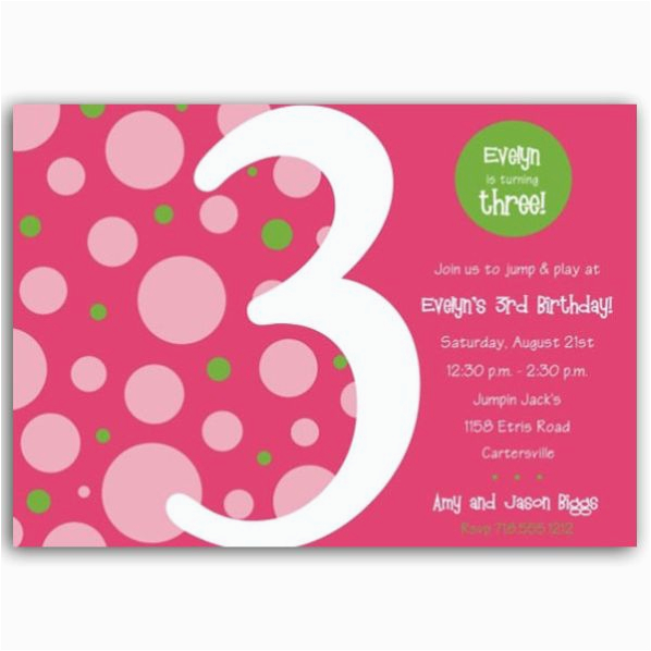 Third Birthday Invitation Wording Birthday Bubbles Pink Green Third Party Invitations