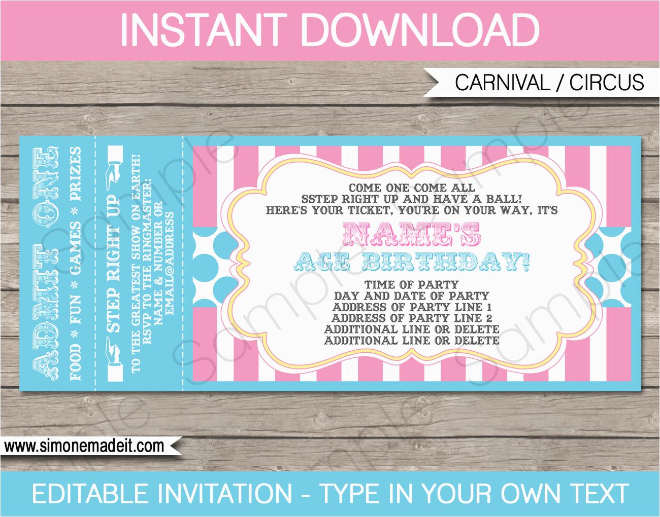 Ticket Birthday Invitation Template Carnival Party Ticket Invitations Template Carnival or