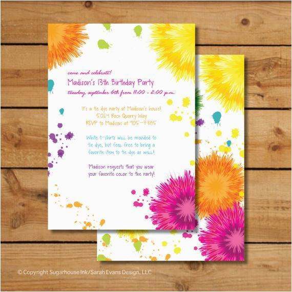 Tie Dye Birthday Party Invitations Birthday Party Invitations Tie Dye Colorful by Sugarhouseink