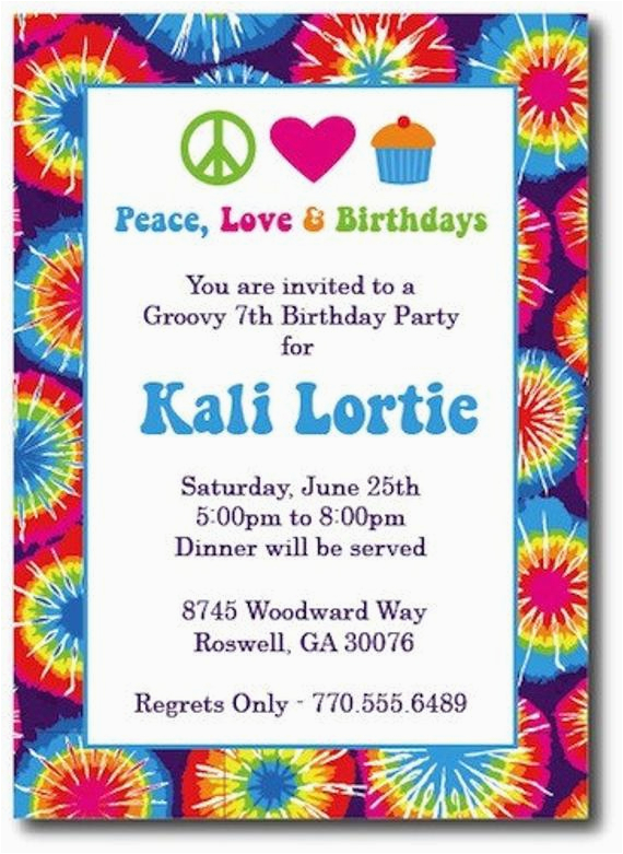 tie dye invitations hippie chick