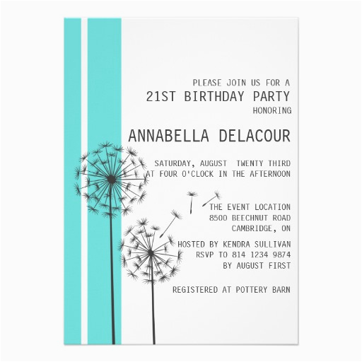 dandelions tiffany blue modern birthday invitation 161743017719374126