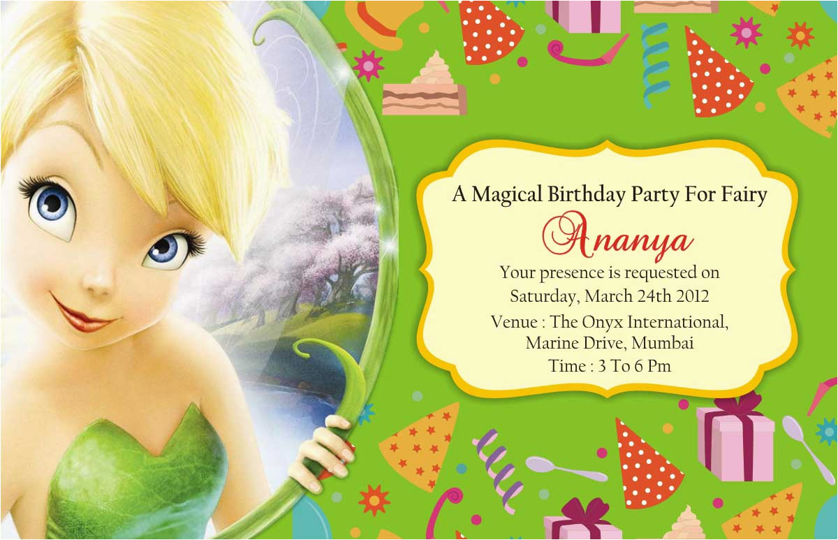 Tinkerbell Birthday Cards Free Party Invitations