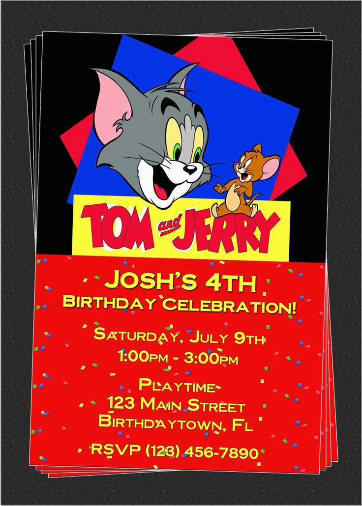 custom tom and jerry birthday party invitations diy