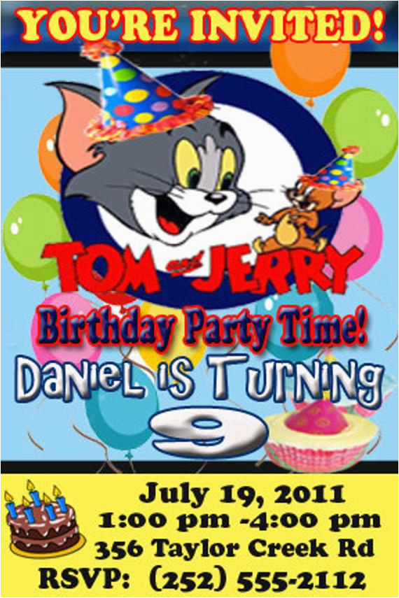 personalized tom and jerry party invitation design digital