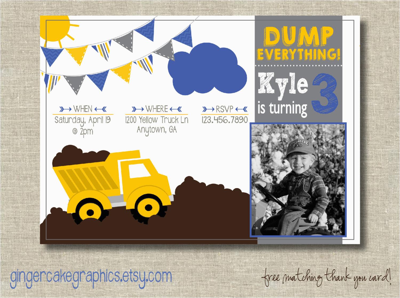 Tonka Truck Birthday Invitations Dump Invitation