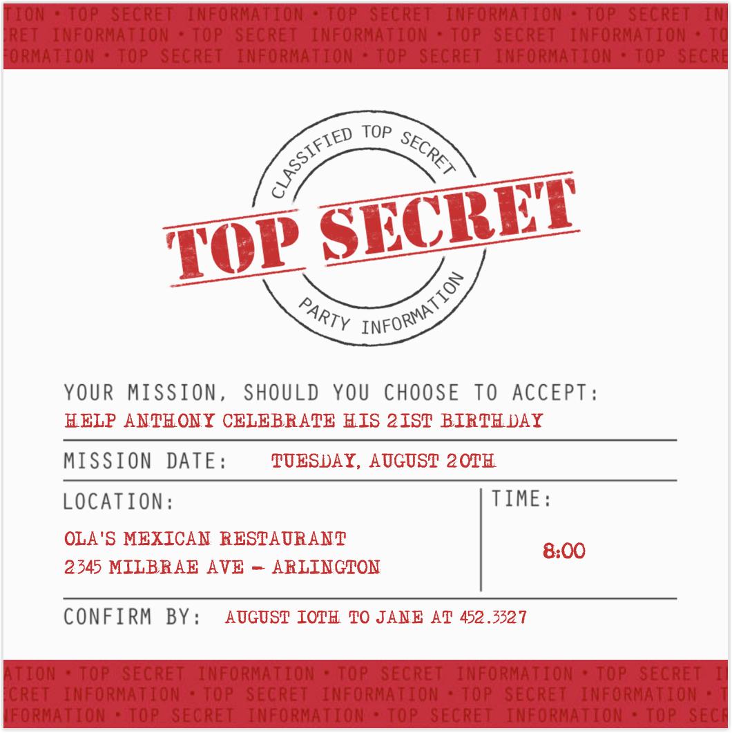 Top Secret Birthday Invitations top Secret Party Invitations Cimvitation