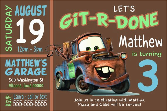 custom tow mater birthday party