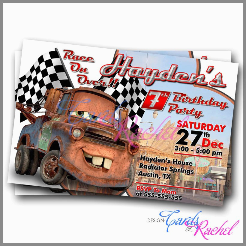 tow mater cars movie invitation card ref shop home active 17