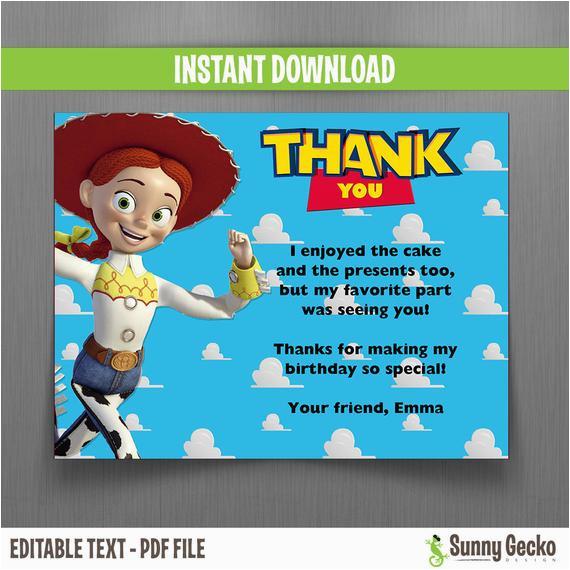 disney toy story birthday thank you