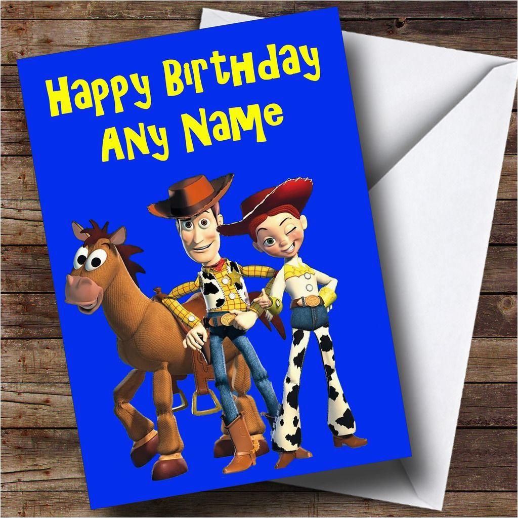 toy story woody jessie personalised birthday card