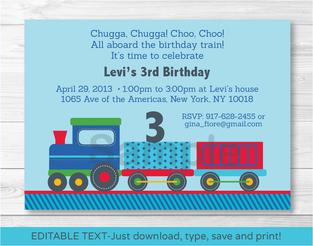 choo choo train all aboard printable birthday invitation