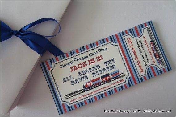 train themed birthday party invitation
