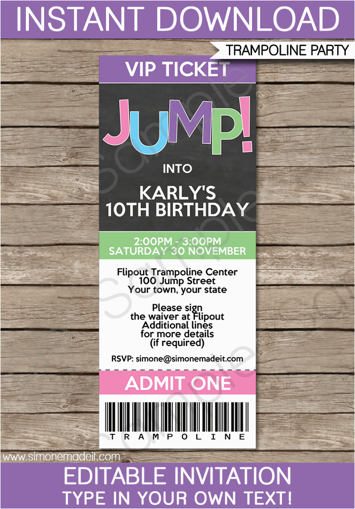 Trampoline Birthday Party Ticket Invitations