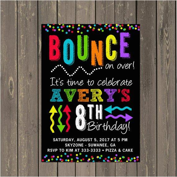 bounce party invitation trampoline park birthday