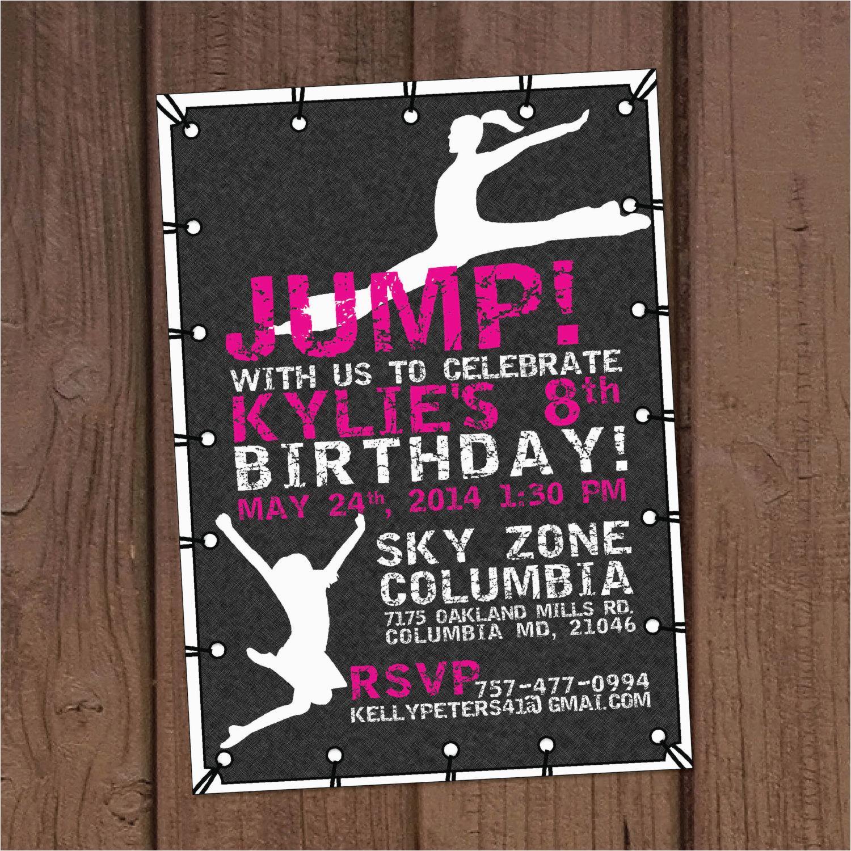 Trampoline Park Birthday Party Invitations Girl Jump Invitation