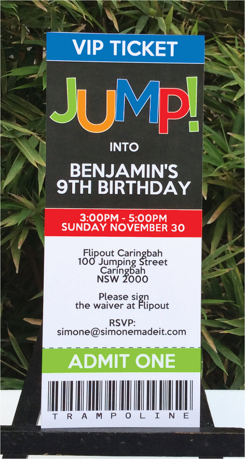 Trampoline Park Birthday Party Invitations Printable Templates