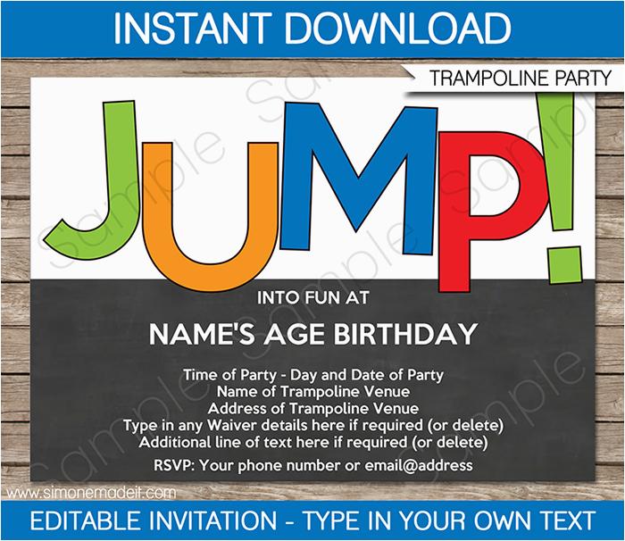 trampoline party invitations birthday