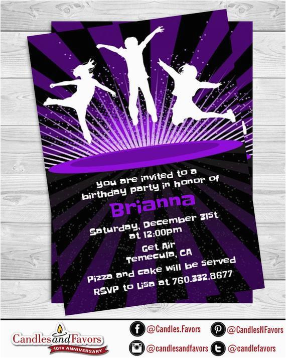 Trampoline Park Birthday Party Invitations Trampoline Printable