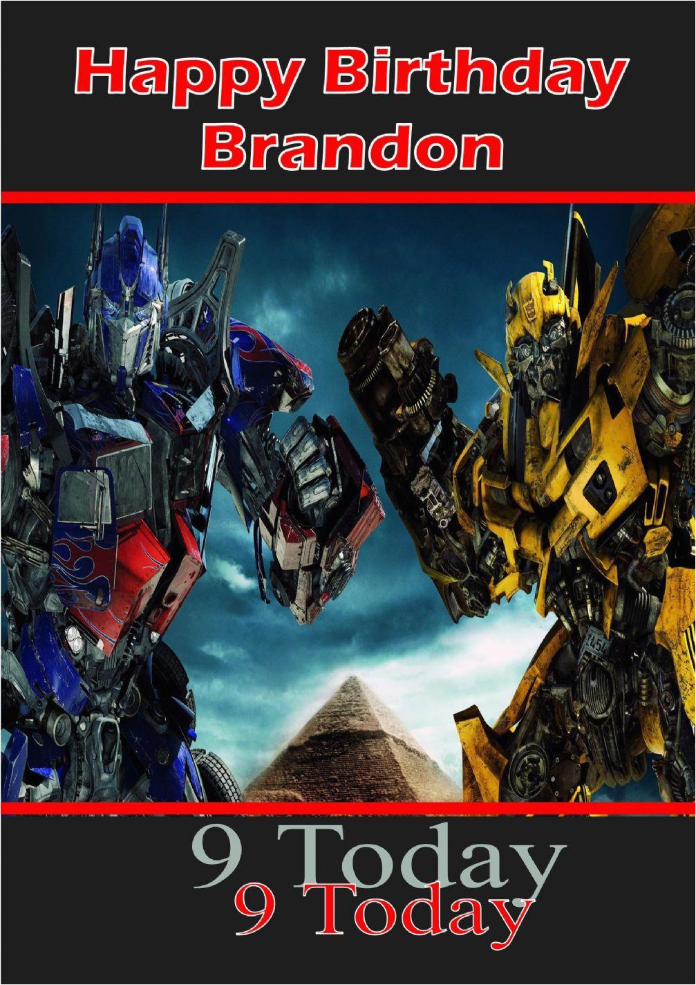 personalised transformers birthday card