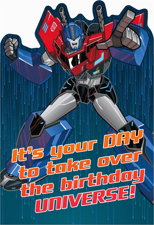 transformers optimus prime epic birthday card greeting