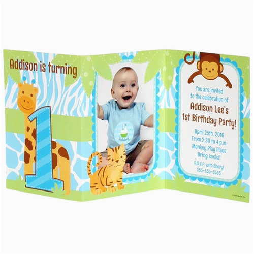 safari 1st birthday boy personalized tri fold invitation