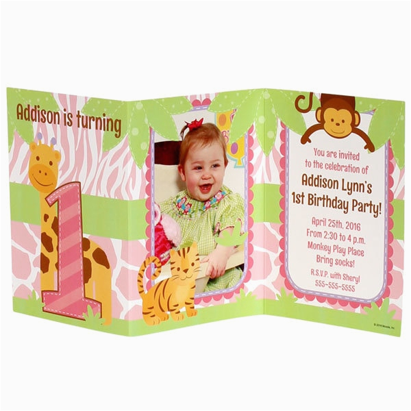 Tri Fold Birthday Invitations Safari 1st Birthday Girl Personalized Tri Fold Invitation
