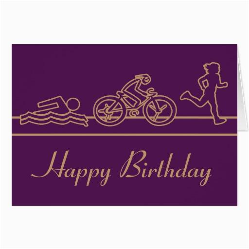 ladies triathlon happy birthday card zazzle