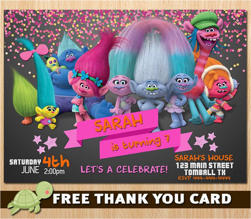 Trolls Birthday Invitations Walmart Etsy Product Troll Party Ideas Pinterest