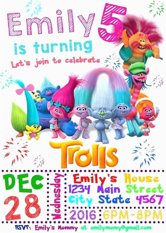 Trolls Birthday Invitations Walmart Photo Graduation Party