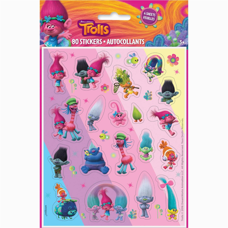 Trolls Birthday Invitations Walmart Sticker Sheets 4ct Pack Of 4 Jet Com