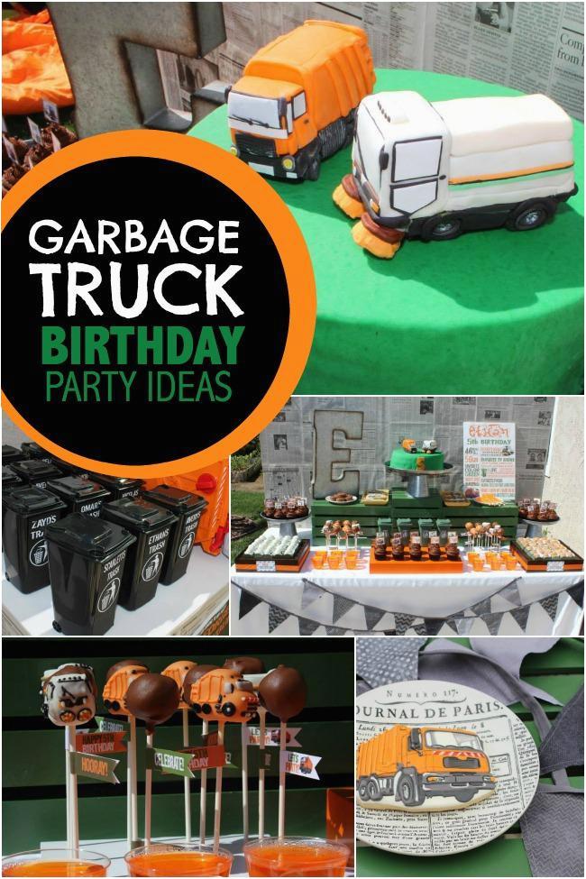 a garbage truck boys 5th birthday party