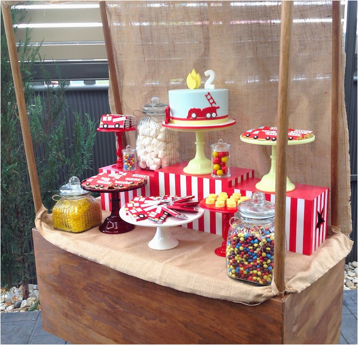 vintage fire truck themed birthday party