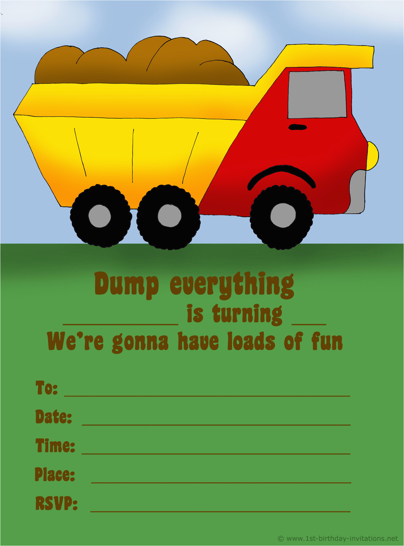 Truck themed Birthday Invitations 14 Printable Birthday Invitations Many Fun themes 1st