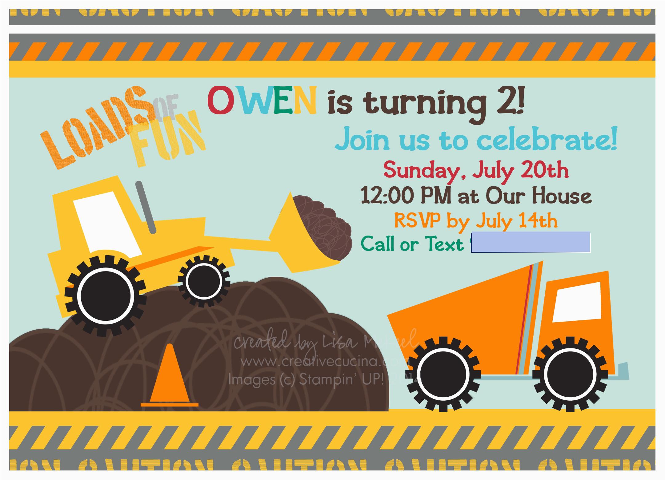 Truck themed Birthday Invitations Construction Truck theme Boy S Birthday Party My Digital