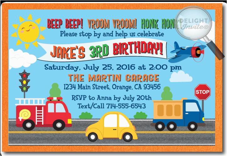 Truck themed Birthday Invitations Planes Cars Firetruck Transportation Invitations Di 383