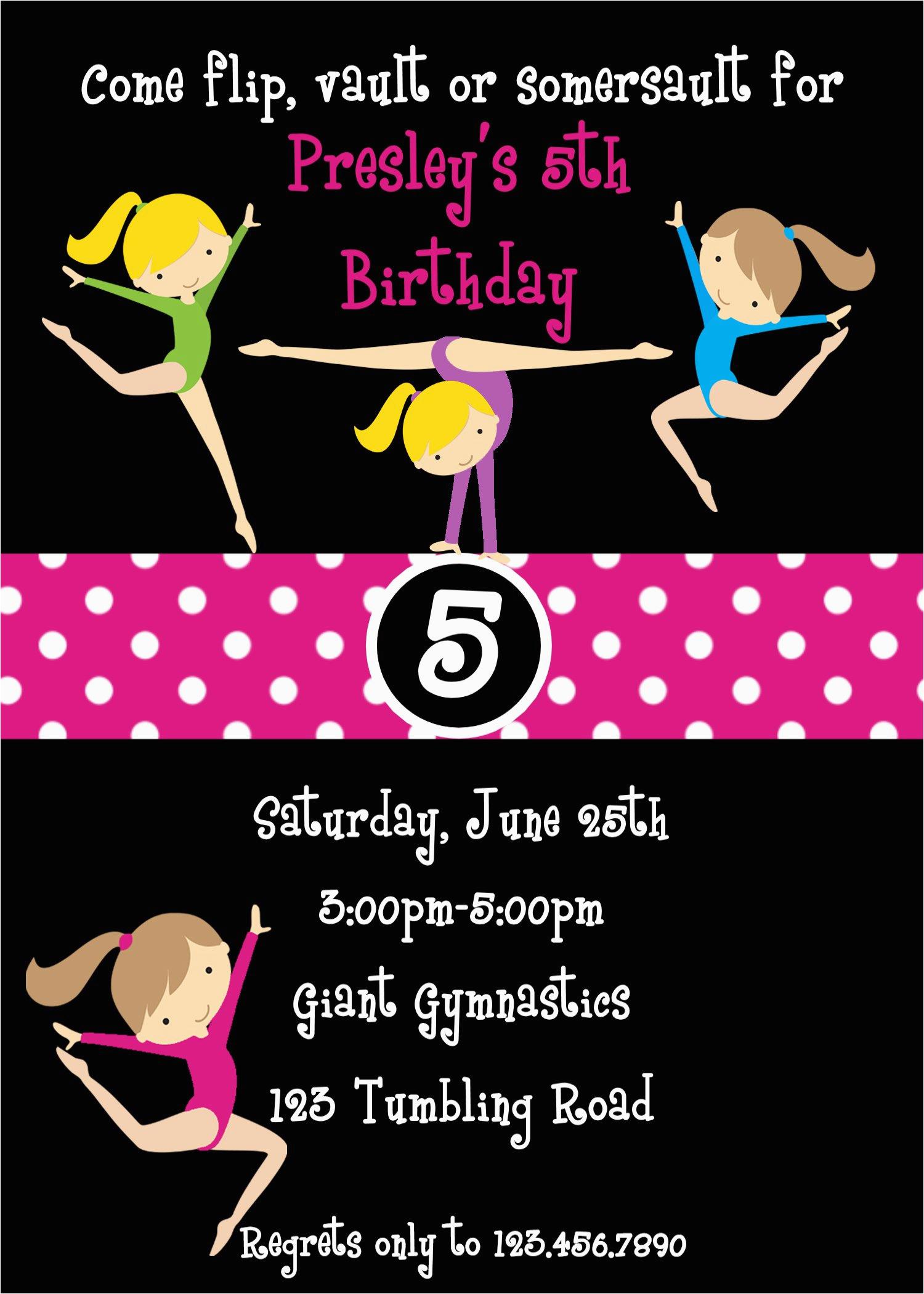 Tumbling Birthday Party Invitations Gymnastic Invitation Templates