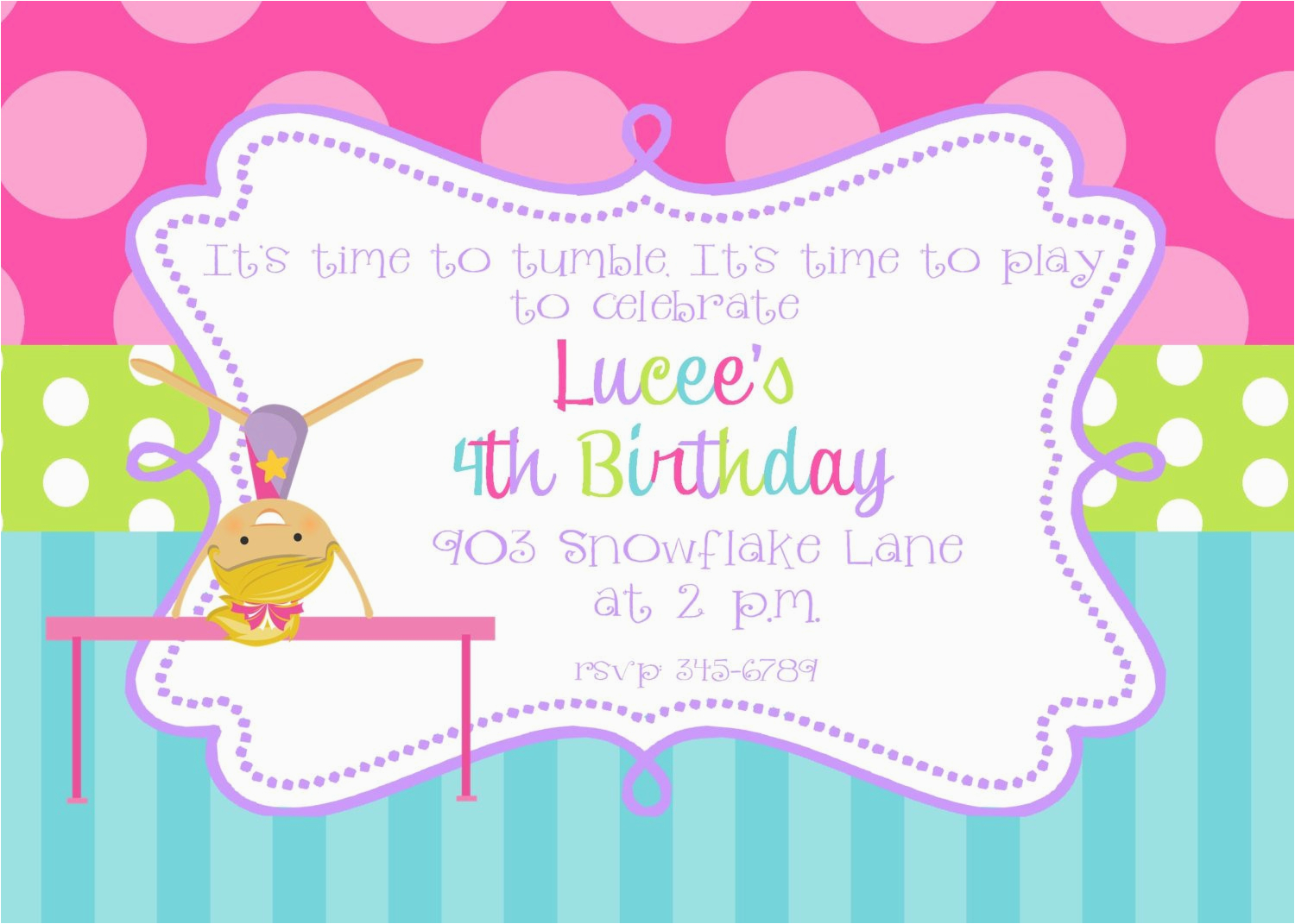 Tumbling Birthday Party Invitations Gymnastics Printable Or Digital