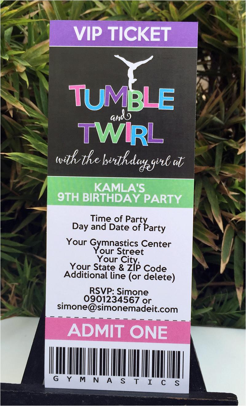 Tumbling Birthday Party Invitations Gymnastics Theme Printables Diy Templates