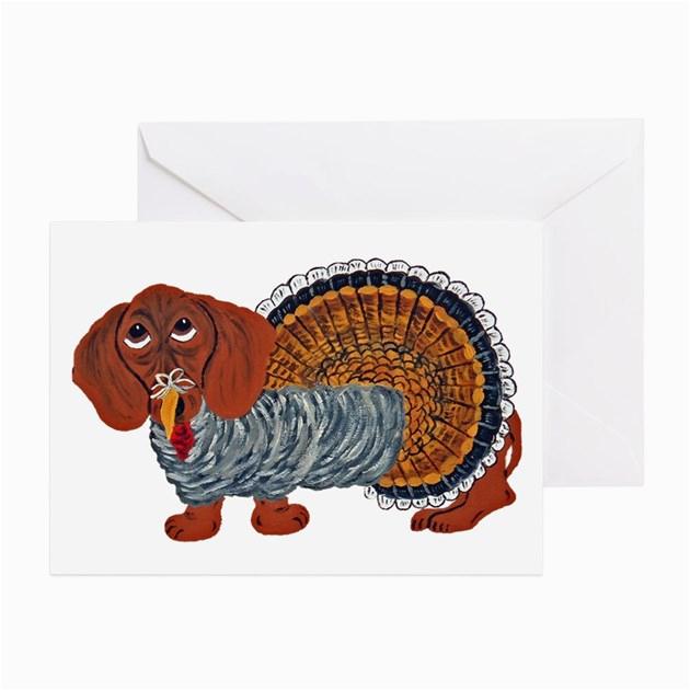 dachshund thanksgiving turkey greeting cards by
