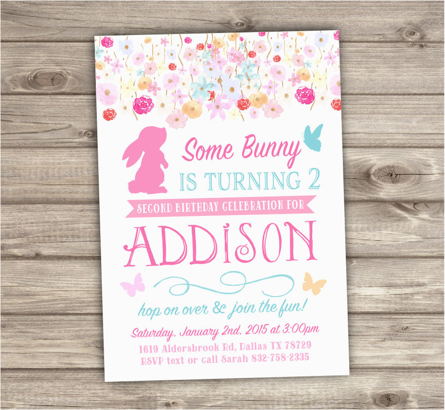 2nd Birthday Invitations Some Bunny Is Turning Two Spring