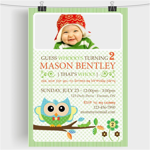 Turning 2 Birthday Invitations Custom 2nd Boy Printable Invitation Bella Owl