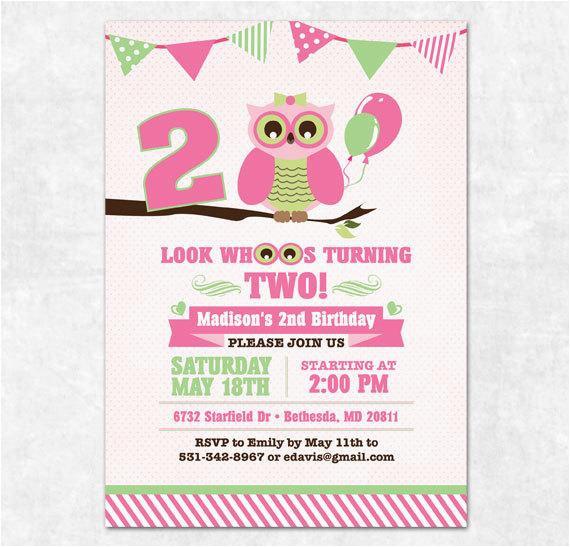 Turning 2 Birthday Invitations Items Similar To Owl Invitation Printable