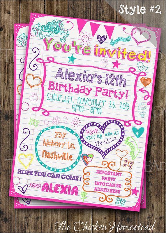 Tween Birthday Invitations Printable Free Custom Girl 39 S Sweet 16 Teen Sleepover Doodle